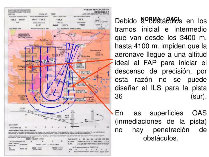 Debido a obstáculos en los tramos inicial e intermedio que van desde los 3400 m. hasta 4100 m. impi...