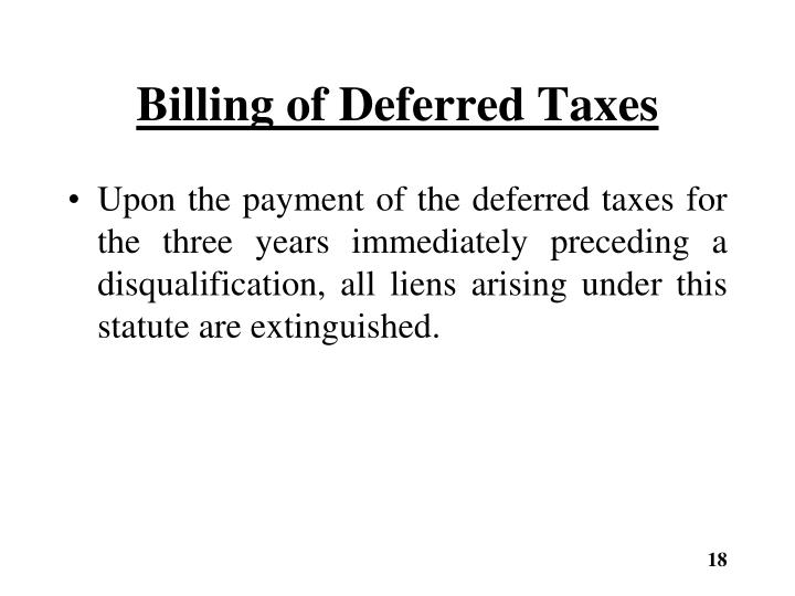 Billing of Deferred Taxes