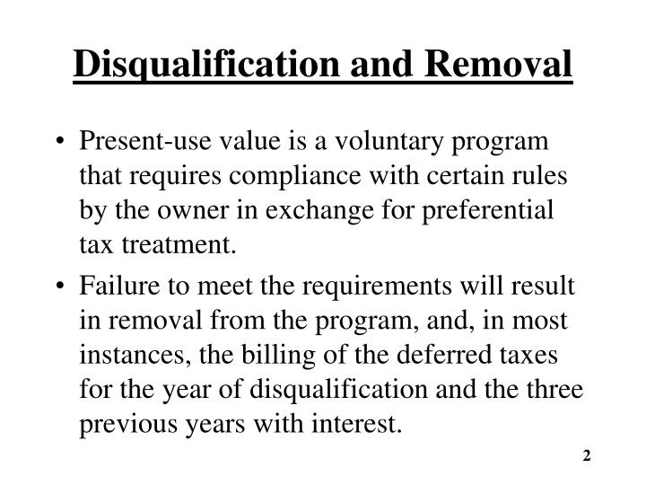 Disqualification and removal