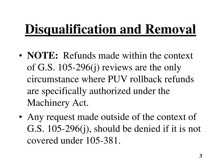 Disqualification and removal1