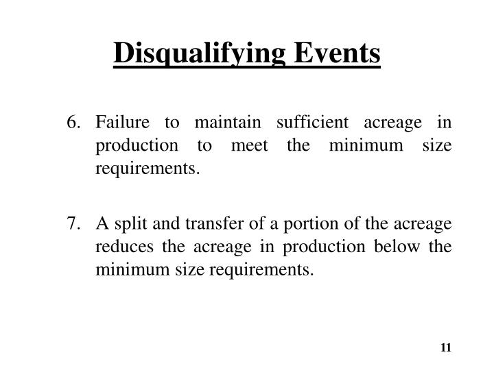 Disqualifying Events