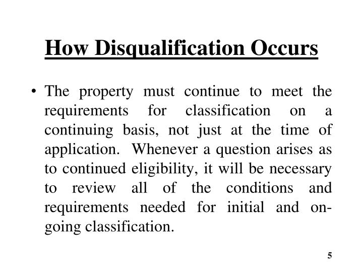 How Disqualification Occurs