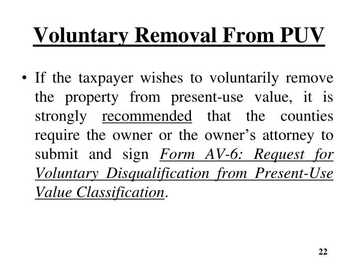 Voluntary Removal From PUV