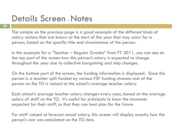 Details Screen