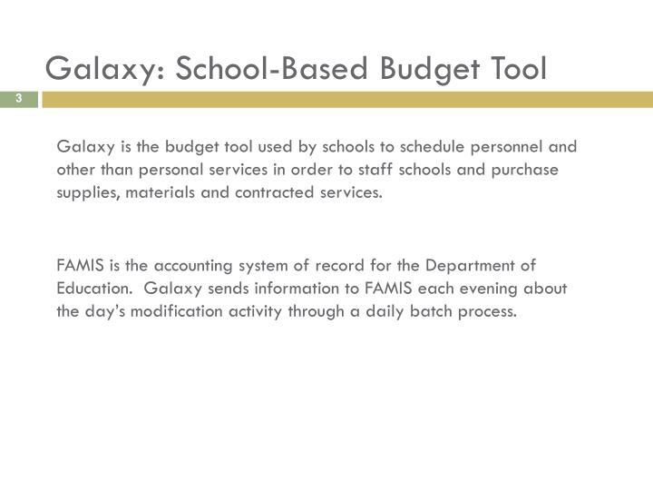 Galaxy school based budget tool