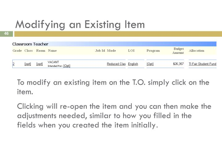 Modifying an Existing Item