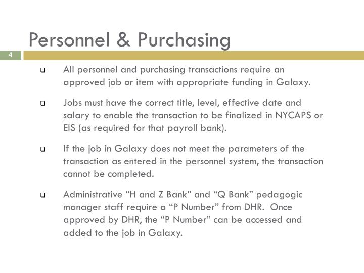 Personnel & Purchasing