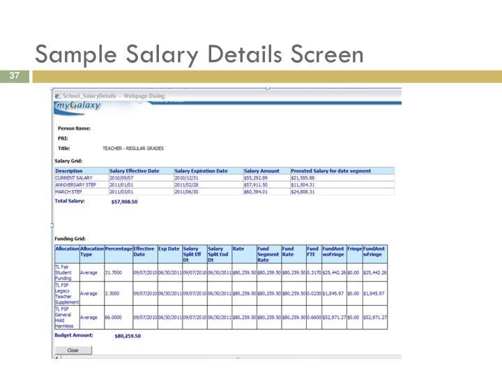 Sample Salary Details Screen