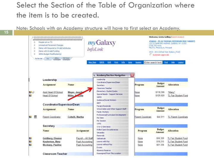Select the Section of the Table of Organization where the item is to be created.