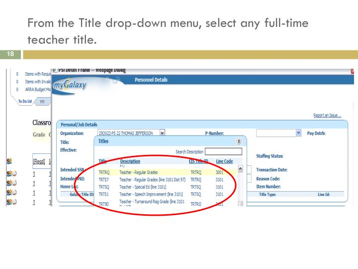 From the Title drop-down menu, select any full-time teacher title.
