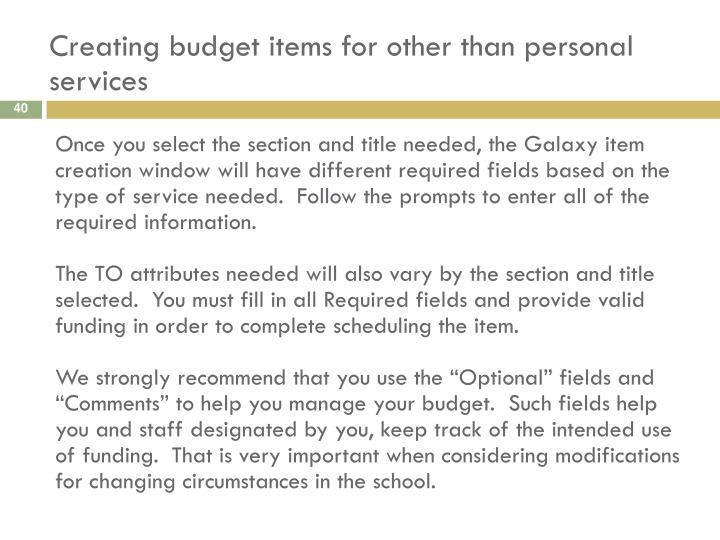 Creating budget items for other than personal services