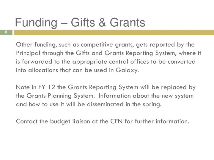 Funding – Gifts & Grants