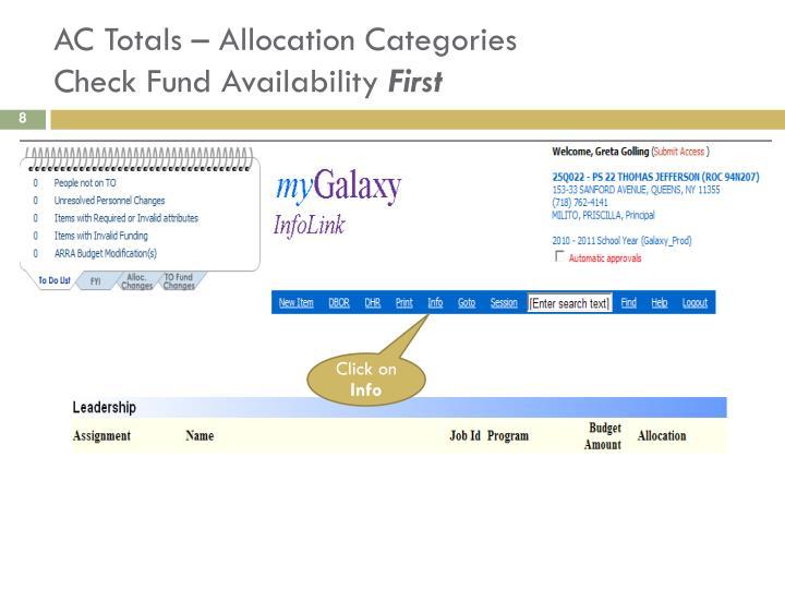 AC Totals – Allocation Categories