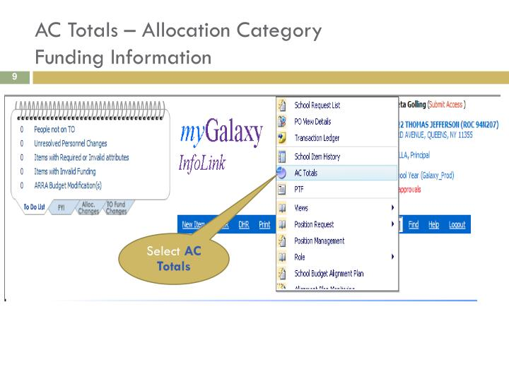 AC Totals – Allocation Category
