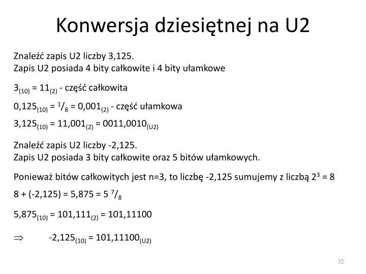 Konwersja dziesiętnej na U2