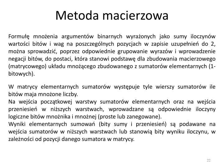 Metoda macierzowa