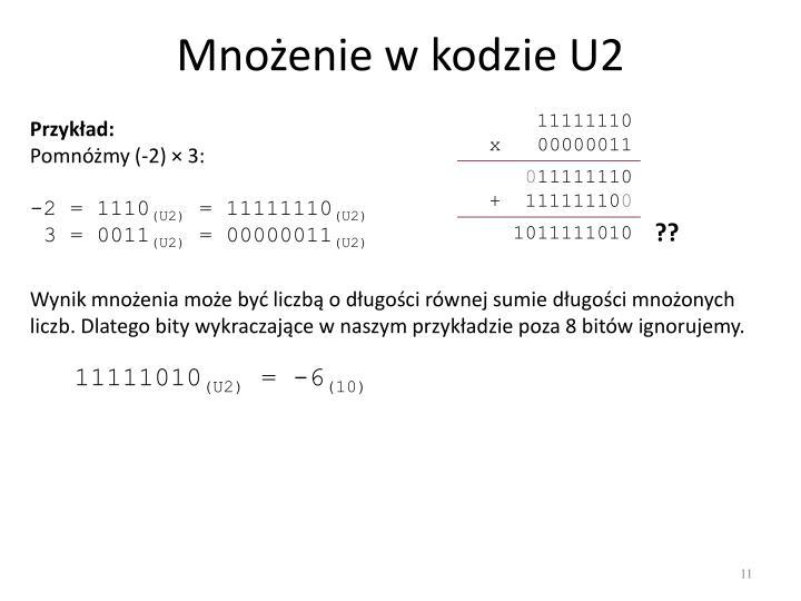 Mnożenie w kodzie U2