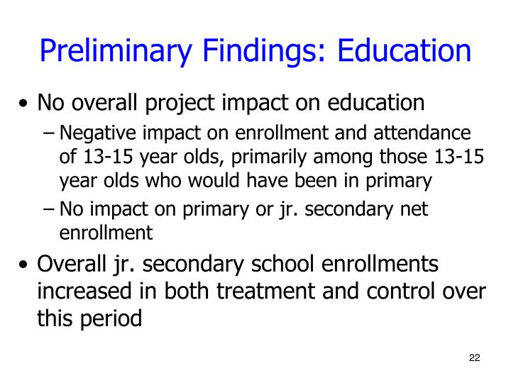 Preliminary Findings: Education