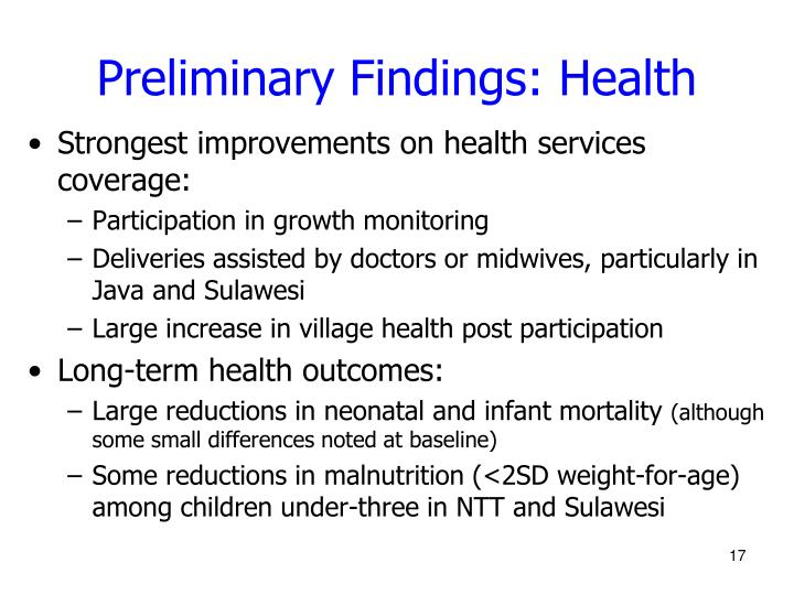 Preliminary Findings: Health
