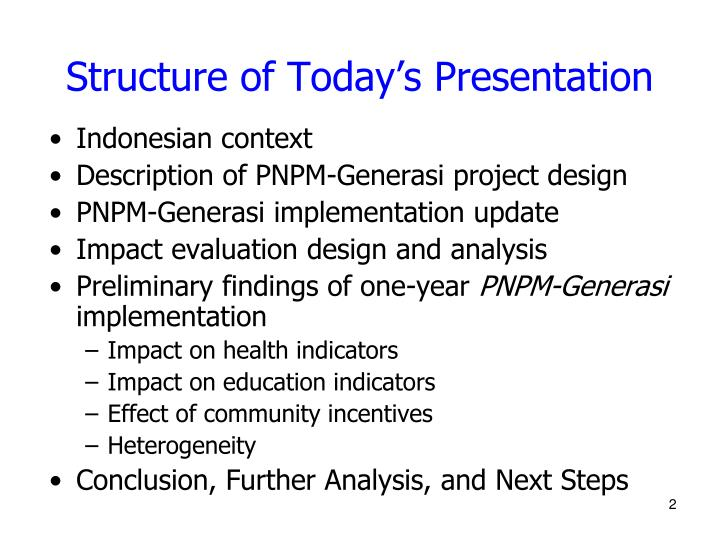 Structure of today s presentation