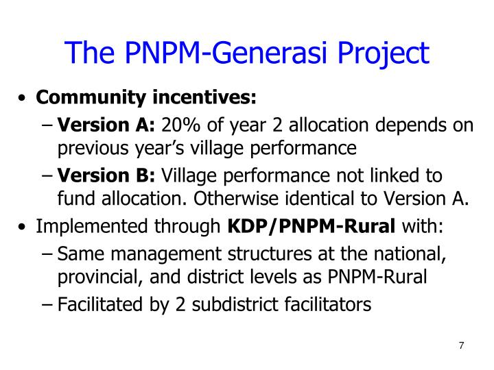 The PNPM-Generasi Project