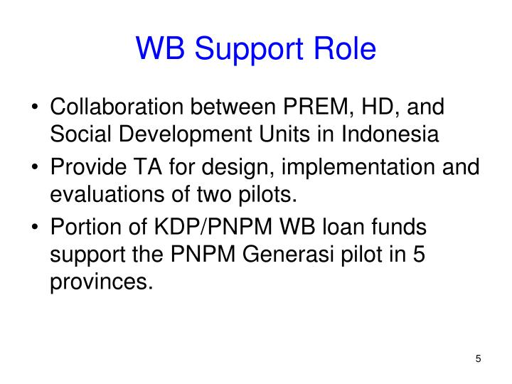 WB Support Role