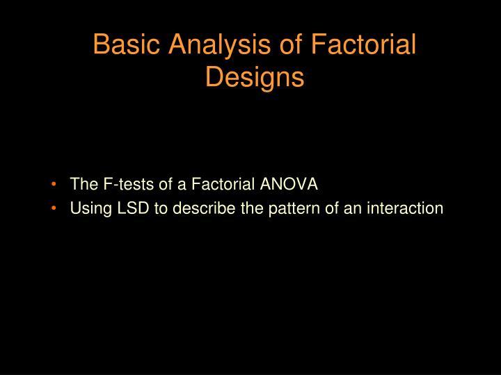 basic analysis of factorial designs n.