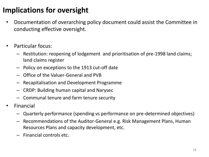Implications for oversight