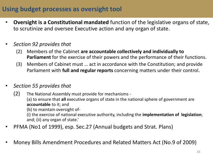 Using budget processes as oversight tool