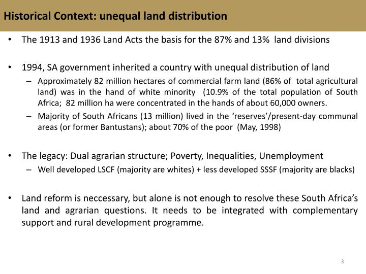 Historical Context: unequal land distribution