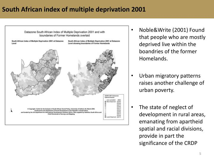 South African index of multiple deprivation 2001