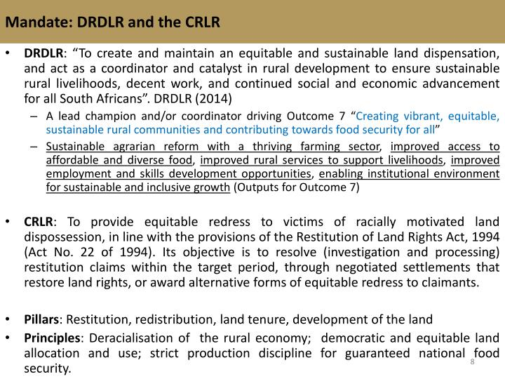 Mandate: DRDLR and the CRLR
