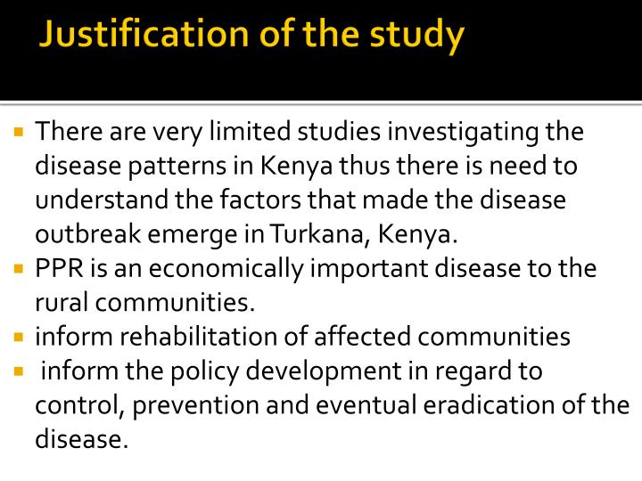 Justification of the study