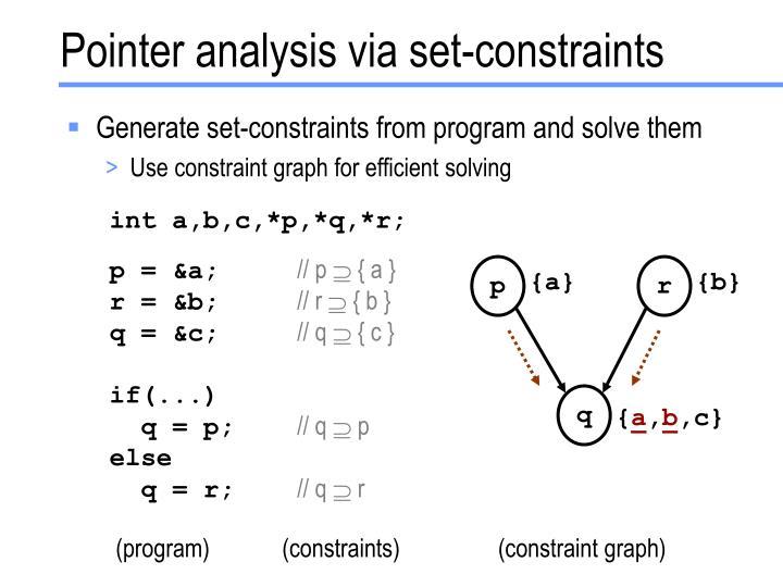 Pointer analysis via set-constraints