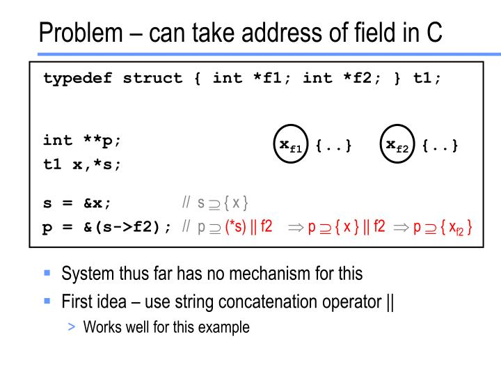 Problem – can take address of field in C