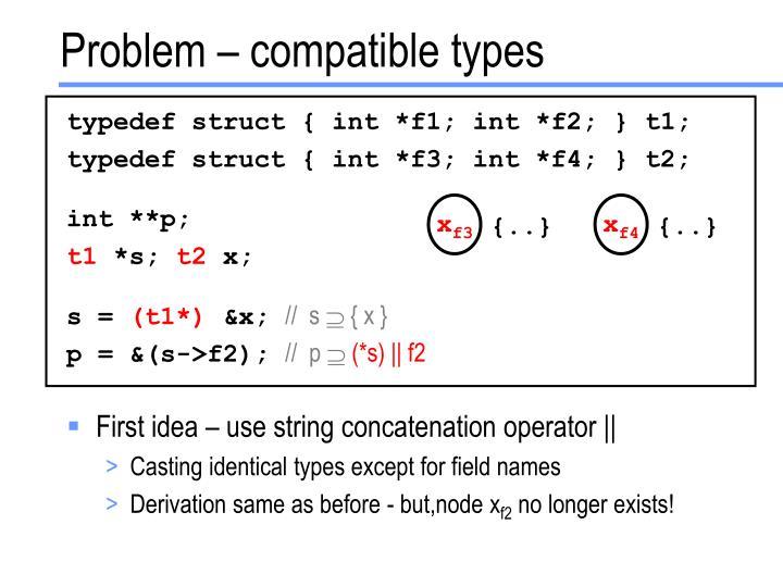 Problem – compatible types