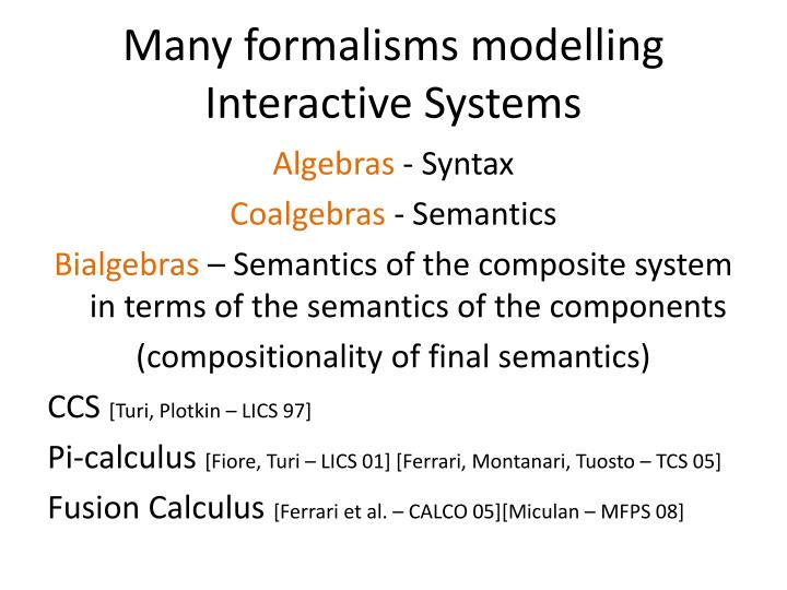 Many formalisms modelling interactive systems