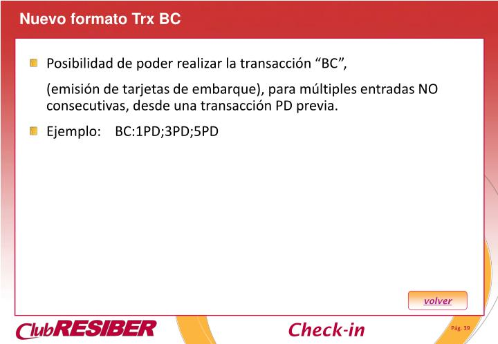 Nuevo formato Trx BC