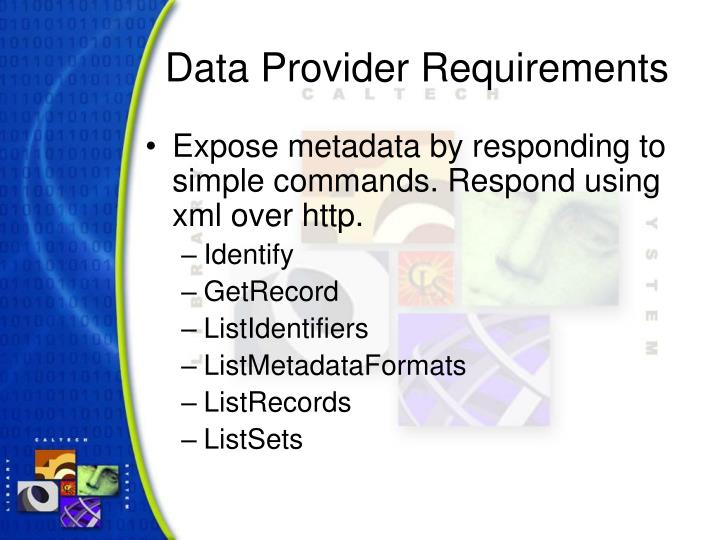 Data Provider Requirements