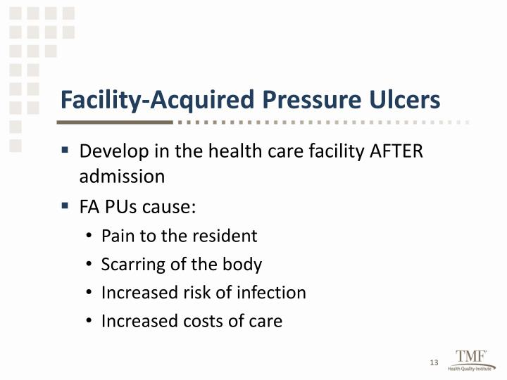 Facility-Acquired Pressure Ulcers