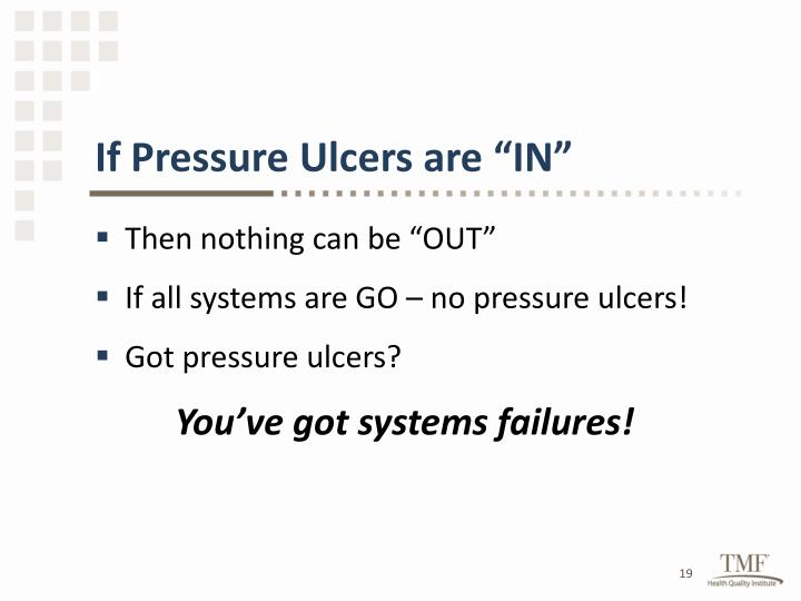 "If Pressure Ulcers are ""IN"""