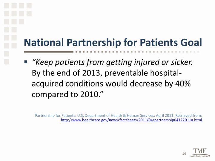 National Partnership for Patients Goal