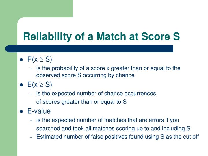 Reliability of a Match at Score S
