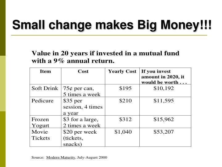 Small change makes Big Money!!!