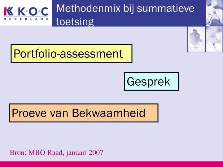 Methodenmix bij summatieve toetsing