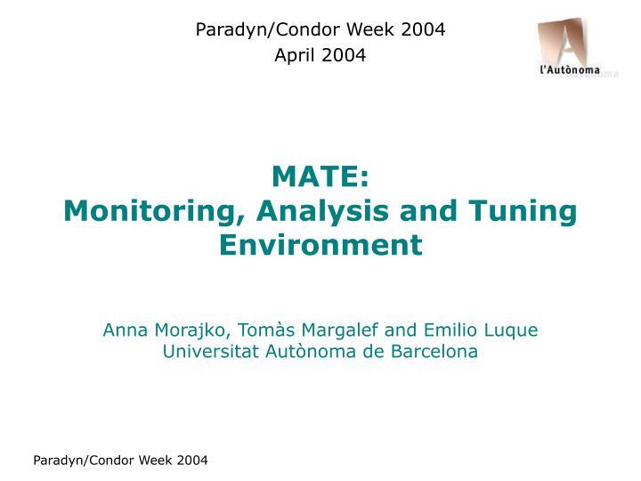 mate monitoring analysis and tuning environment n.