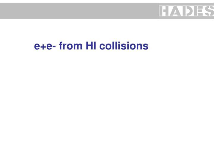 e+e- from HI collisions