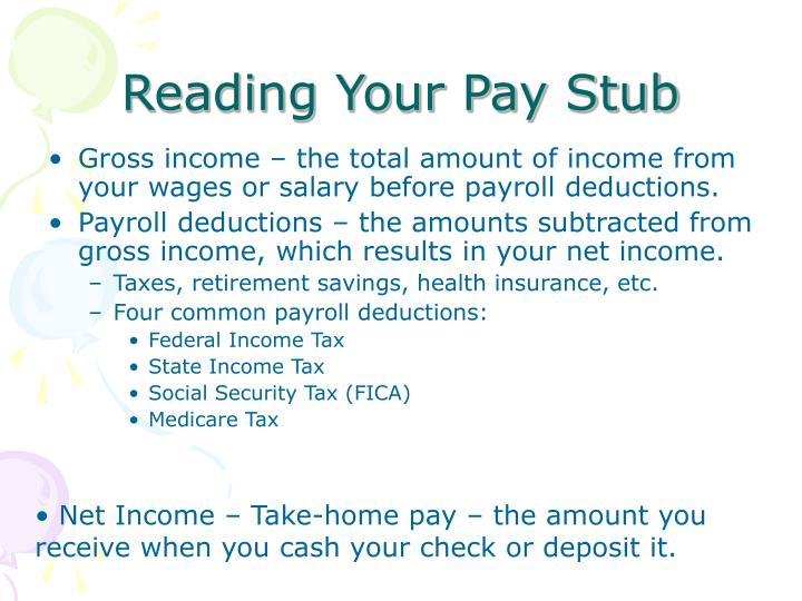 Reading Your Pay Stub
