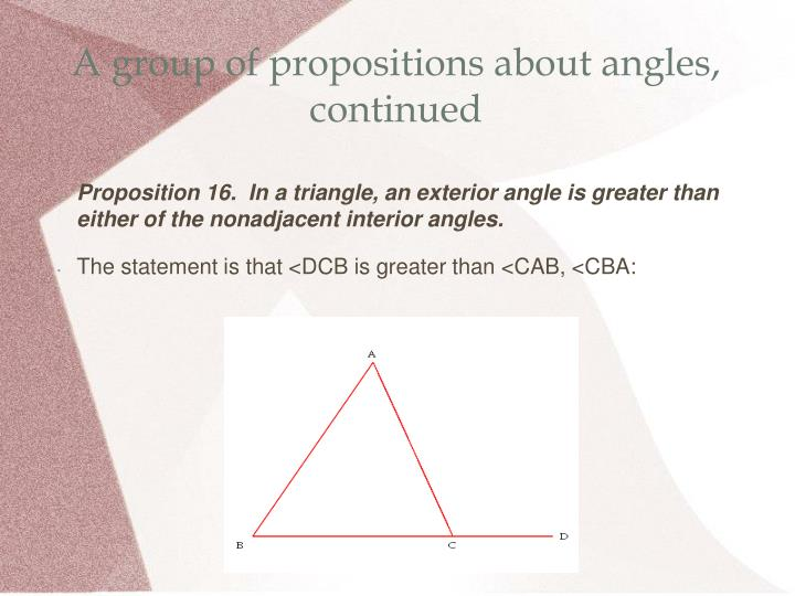 A group of propositions about angles, continued
