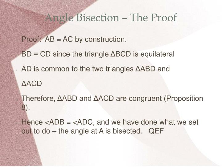 Angle Bisection – The Proof